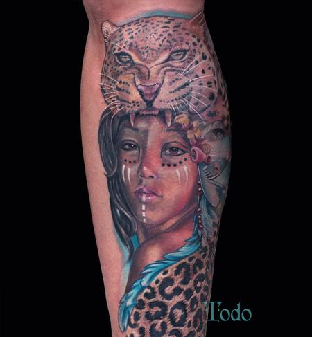 Tattoos - Leopard and girl - 93798