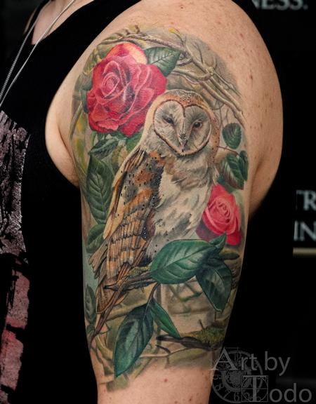 Tattoos - Owl and Roses - 123512