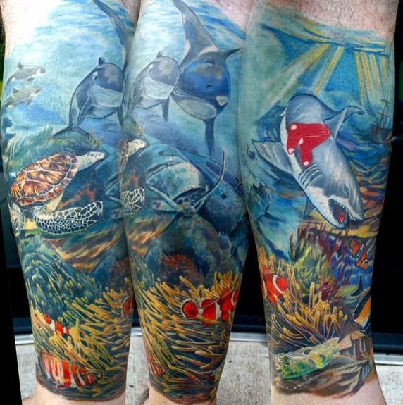 Tattoos - Underwater RedSox Shark - 49536