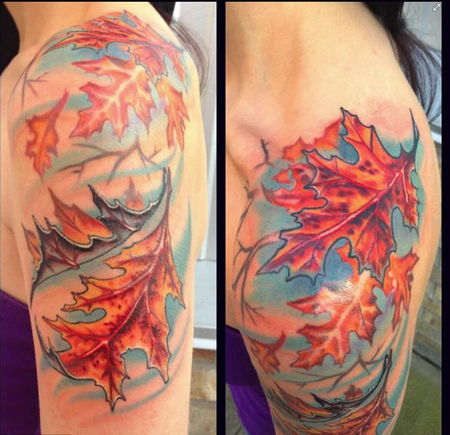 Mike Woods - Fall Leaves half sleeve