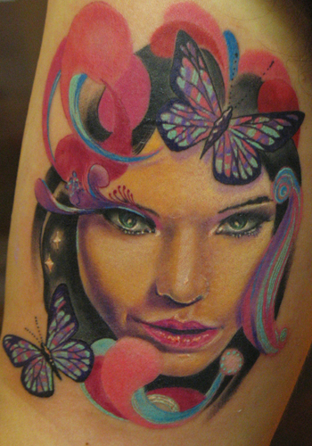 Tattoos - Alex De Pase - portrait and butterfly - 31500
