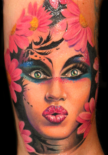 Tattoos - woman with flowers and makeup - 31501