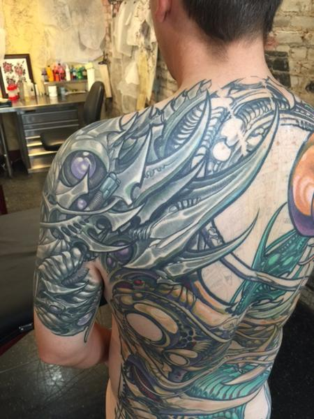 Ron Earhart - Biomech Back and Shoulder Tattoo