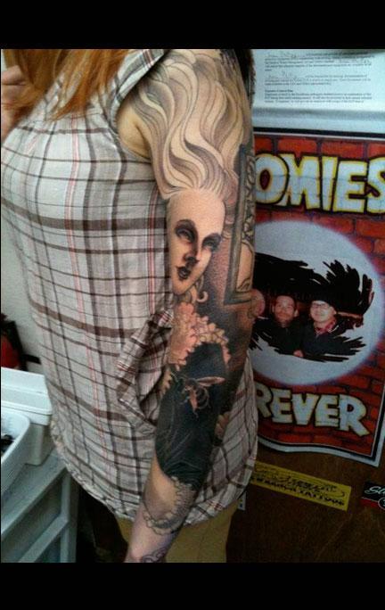 Tattoos - Black and Grey Woman Sleeve - 65945