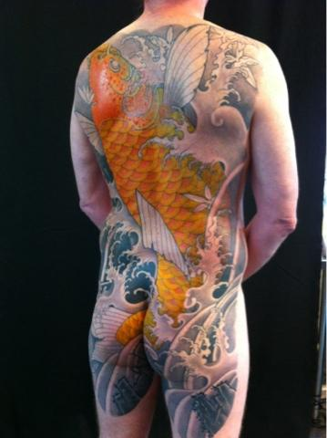 Tattoos - Golden Koi Backpiece Tattoo - 67049