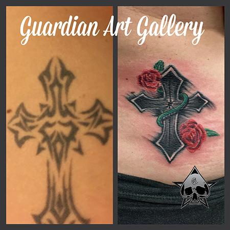 Tattoos - Cross with rose - 114887