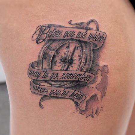 Tattoos - Compass and banner - 108473