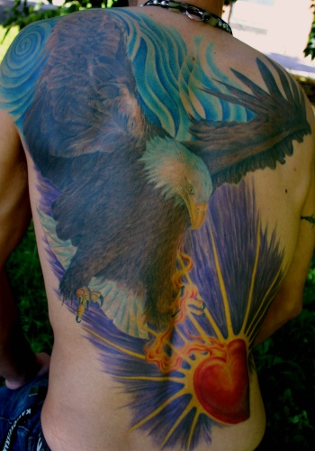 Tattoos - Eagle & sacred heart - 20713
