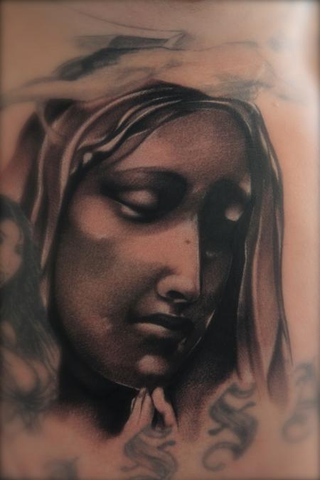 Tattoos - Black and Gray Virgin Mary Tattoo Mike DeMasi Art Junkies Tattoo - 60144