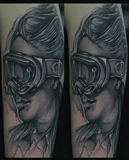 Tattoos - Black and gray snow boarder portrait tattoo - 62742