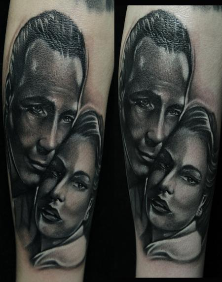Tattoos - Casablanca Movie Black and Gray Portrait Tattoos - 65278