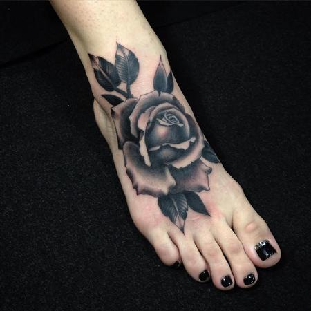 Tattoos - Black and Gray Rose - 122259