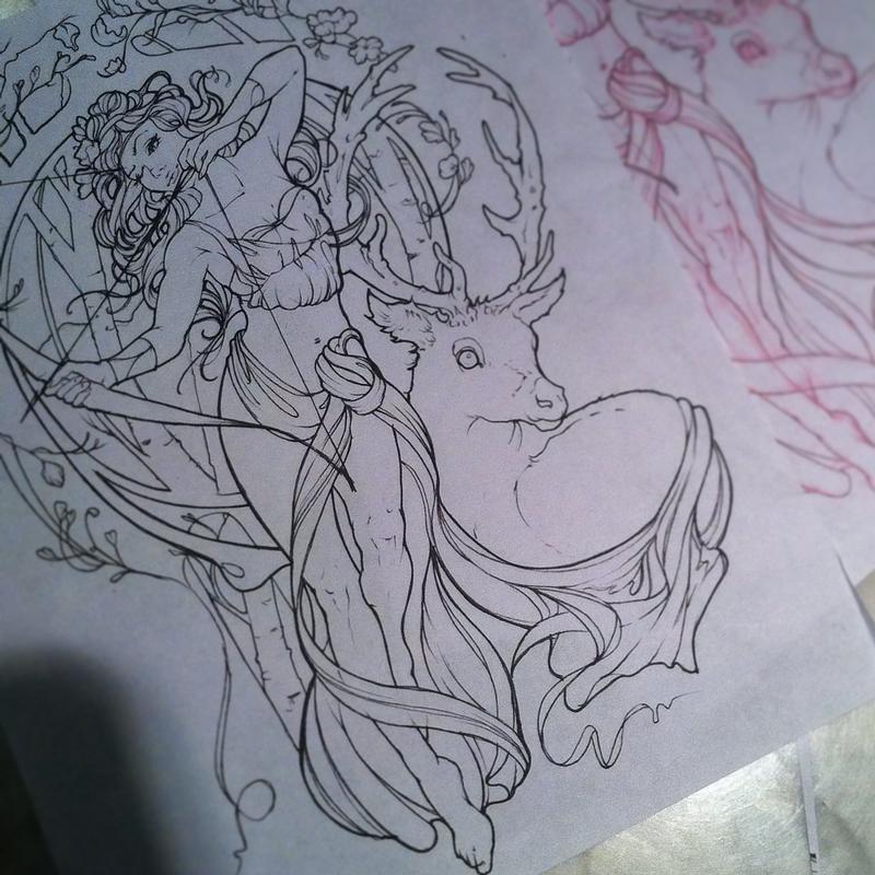 Art Nouveau Artemis tattoo outline by Aubrey Mennella