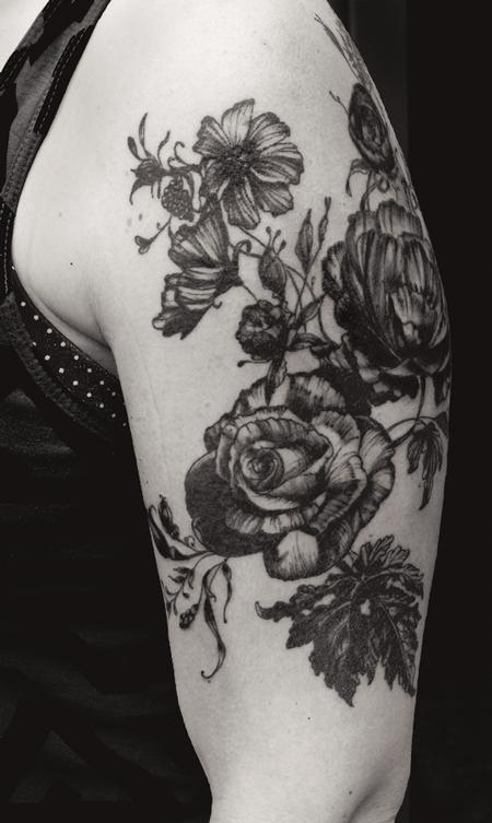 Tattoos - black works vintage botanical rose flower tattoo - 131956