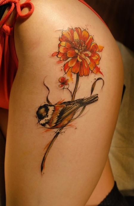 Tattoos - chickadee watercolor tattoo - 131936