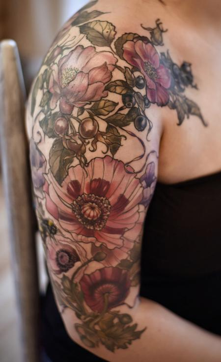 Aubrey Mennella - vintage poppy rose hip tattoo