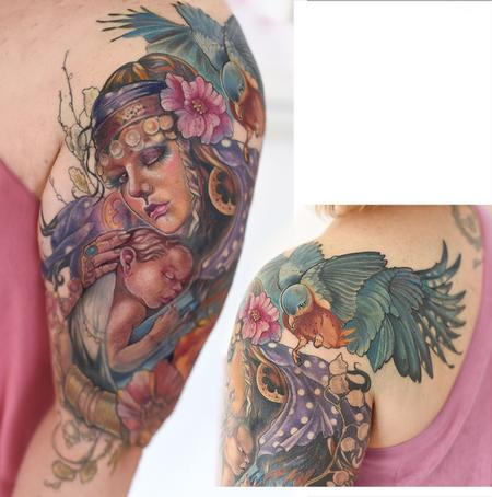 Aubrey Mennella - gypsy mother and baby with bluebird and flowers tattoo