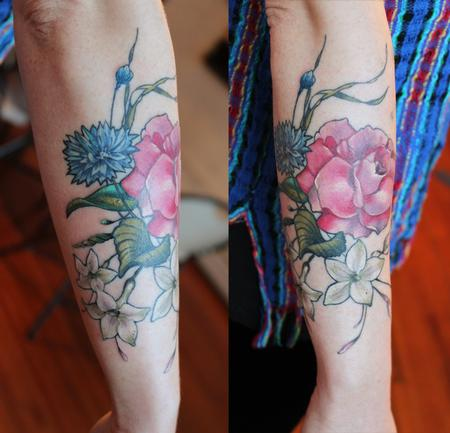 Tattoos - rose corn flower jasmine tattoo - 131952