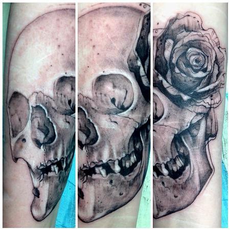 Tattoos - skull and rose - 78083