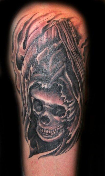 Danny Warner - Black and Grey Skull Tattoo