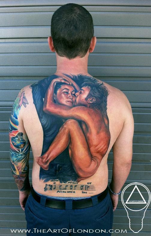 John Lennon Yoko Ono Beatles Memorial Tattoo By London Reese Tattoonow