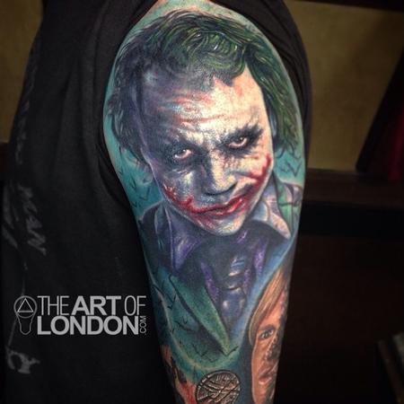 Tattoos - The Joker Heath Ledger Color Portrait Tattoo - 93985