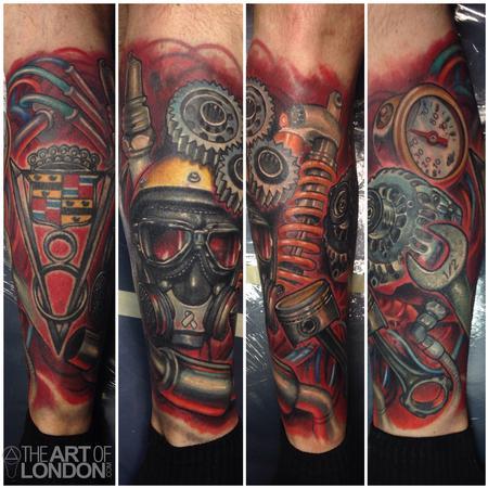 Tattoos - Automotive Gear Head Car Engine Parts - 91755