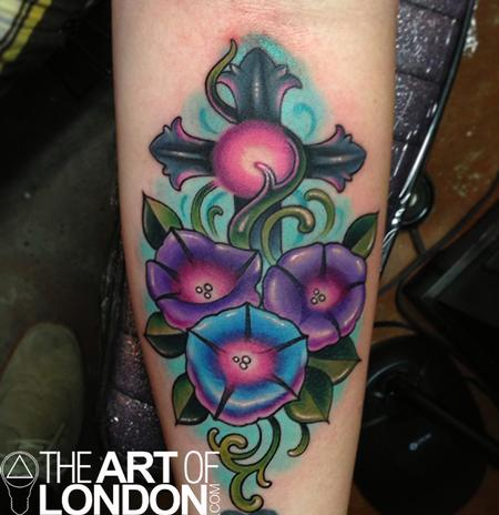 Tattoos - Morning Glories and Cross Tattoo - 74395