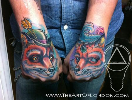 Tattoos - Fox Boy & Girl Hand Tattoos - 68926