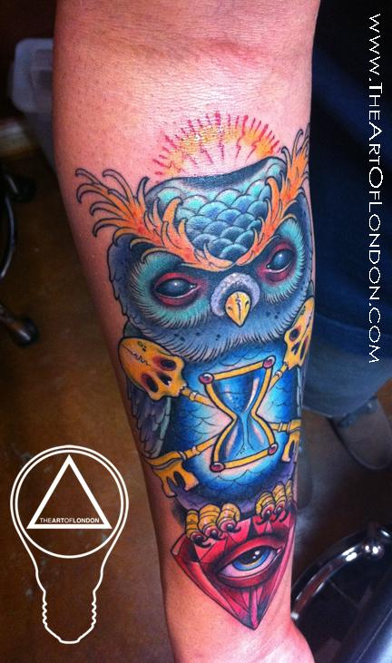 Tattoos - Gnarly Owl Diamond Tattoo - 68516