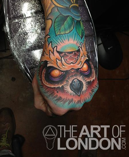 Tattoos - Creepy Owl Hand  - 73335