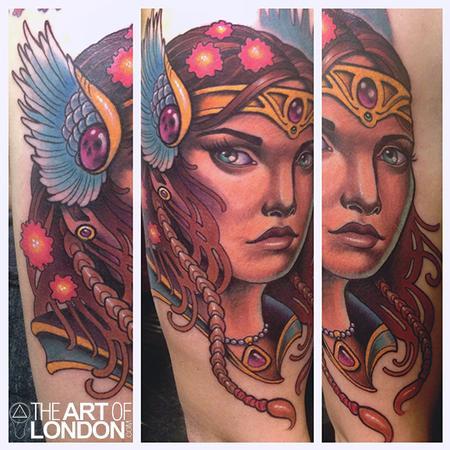 Tattoos - VIking Warrior Princess Tattoo - 76759