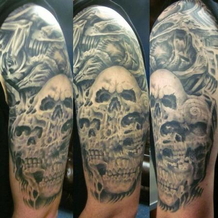 Tattoos - Bio mechanical skull halfsleeve - 106284