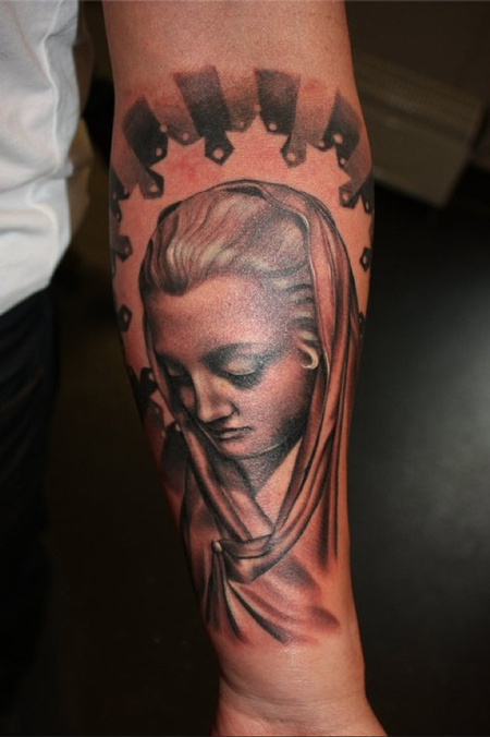 Tattoos - Section of Ray's arm, Mary  - 63621