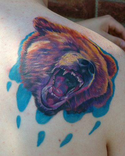 Tattoos - Bear head with paw - 21225