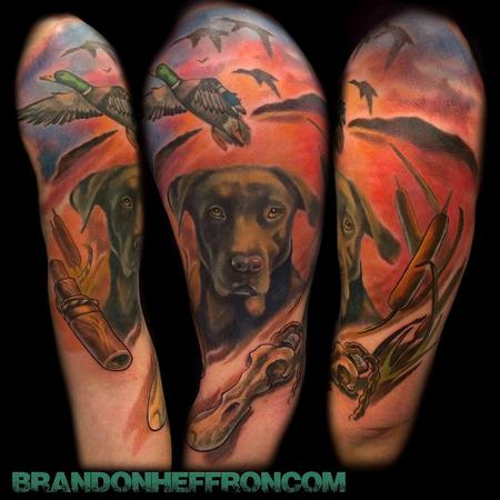 Tattoos - Hunting dog portrait half sleeve - 87066