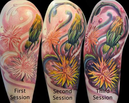 Tattoos - Dandelion Half-Sleeve Progression - 55959