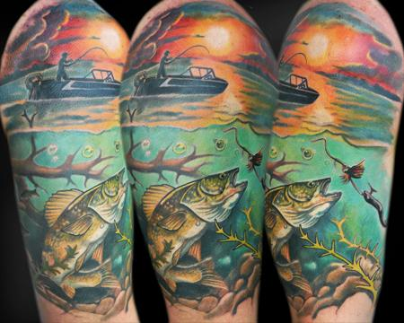 Tattoos - Fishing Half-Sleeve - 56643