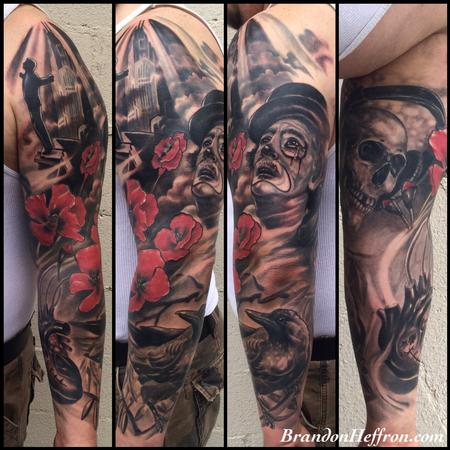 Tattoos - Clown and Poppies - 123413