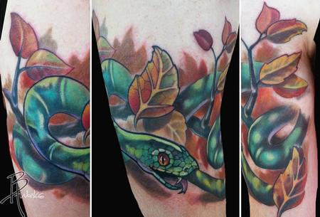 Tattoos - Snake in Fall Leaves - 69020