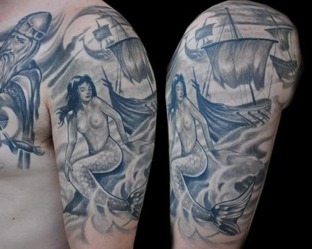 Tattoos - Viking Mermaid Half-Sleeve - 55861
