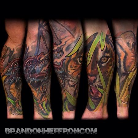 Tattoos - Dragon & Tiger leg sleeve - 86647