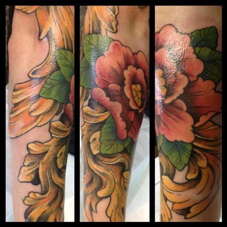 Tattoos - romantic flower cover a tribal phoenix - 82341