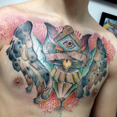 Tattoos - all seeing owl geo pattern - 102445