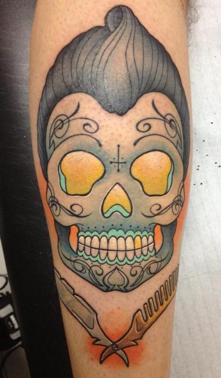 Tattoos - rock n roll sugar skull - 88876