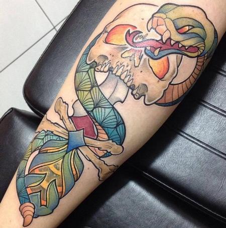 Tattoos - Snake n skull - 99704