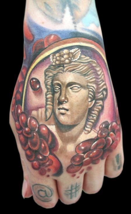 Tattoos - Woman's profile brooch w/ pomegranate seeds. - 66470