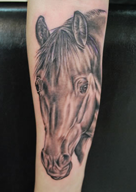 Joel Salter - Realistic Black and Grey Horse Tattoo