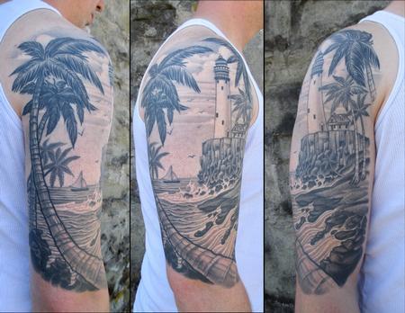 Tattoos - Tropical Light House - 133361