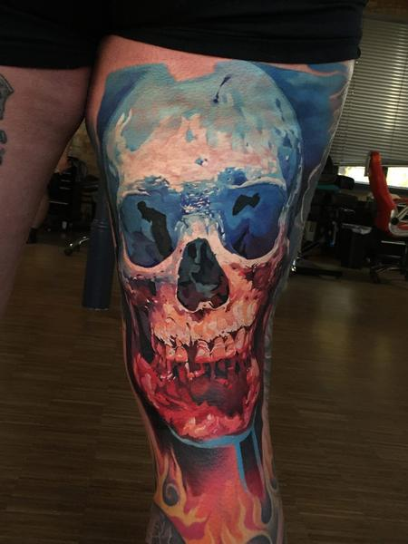 Bullet BG - Red White and Blue Skull Tattoo